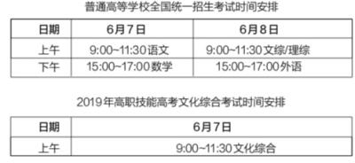省考试院公布湖北2019年高考时间安排 6月7日 8日高考 6月23日放榜图片 42137 400x184
