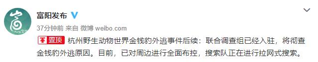杭州野生动物世界金钱豹外逃:联合调查组已入驻