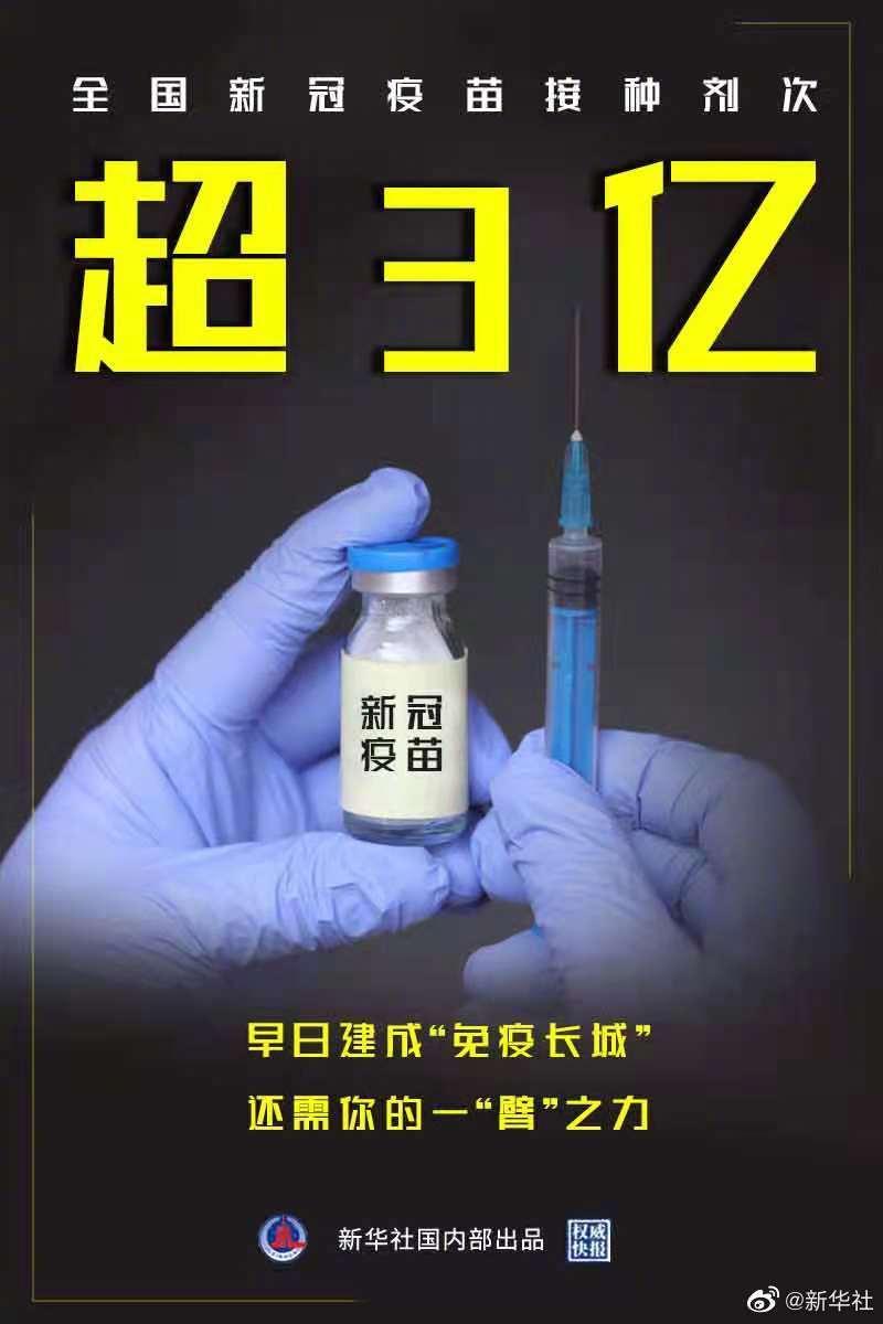 權威快報丨全國新冠疫苗接種超3億劑次