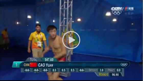 男子跳水3米板曹缘一路领跑夺冠