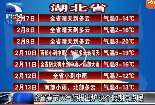 全省春节天气预报出炉