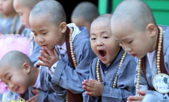 韩国寺院小和尚踢足球
