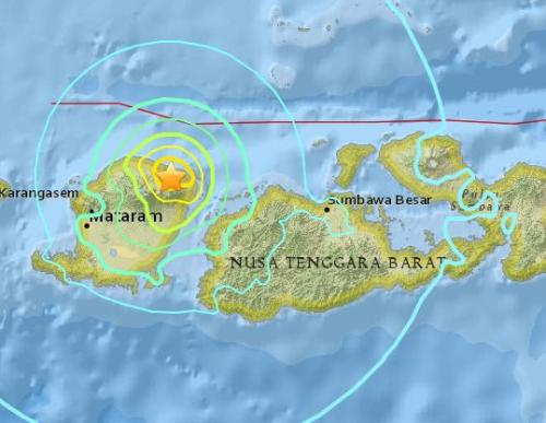 印尼龙目岛发生6.3级地震 震源深度7.9公里