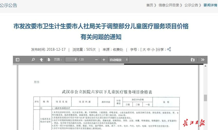 武汉375项儿童医疗服务下月调价!加收幅度20%,价格实行政府指导价