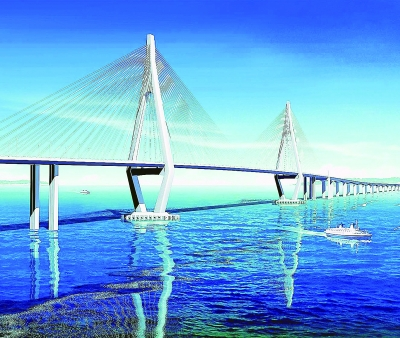 图为:珠港澳大桥-武汉工程设计一年 吸金 800亿 市民边参观边感慨