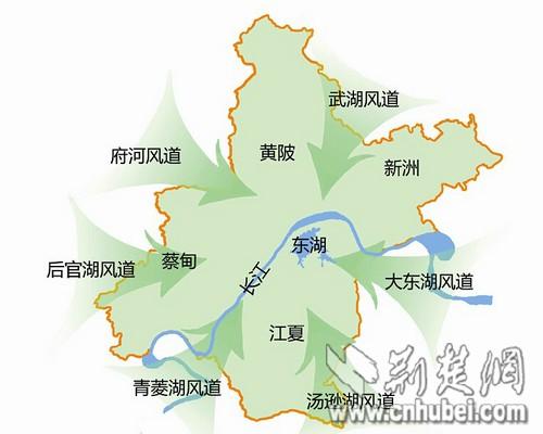 《武汉市城市风道规划》,规划打通江城城市六条风道,改善城市热岛效应