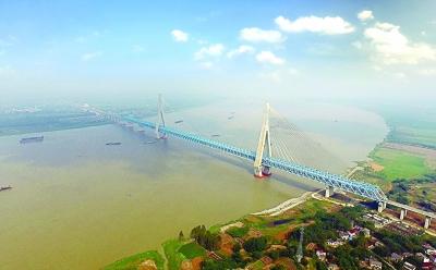 宁安高铁安庆长江大桥航拍全景图