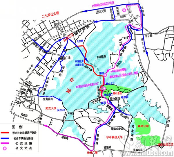 武汉环东湖绿道工程施工 2016全年相关道路绕行方案出台图片