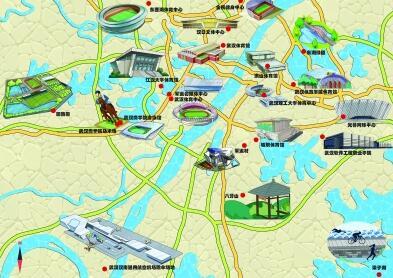 武汉高校学子手绘军运场馆地图 军运村建筑戴上军帽创意十足